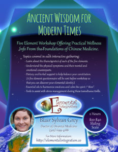 5 Element Workshops to help us navigate these stressful times.